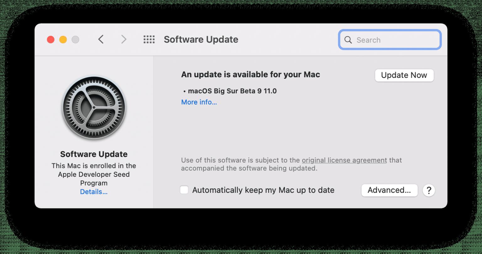 macOS software update window