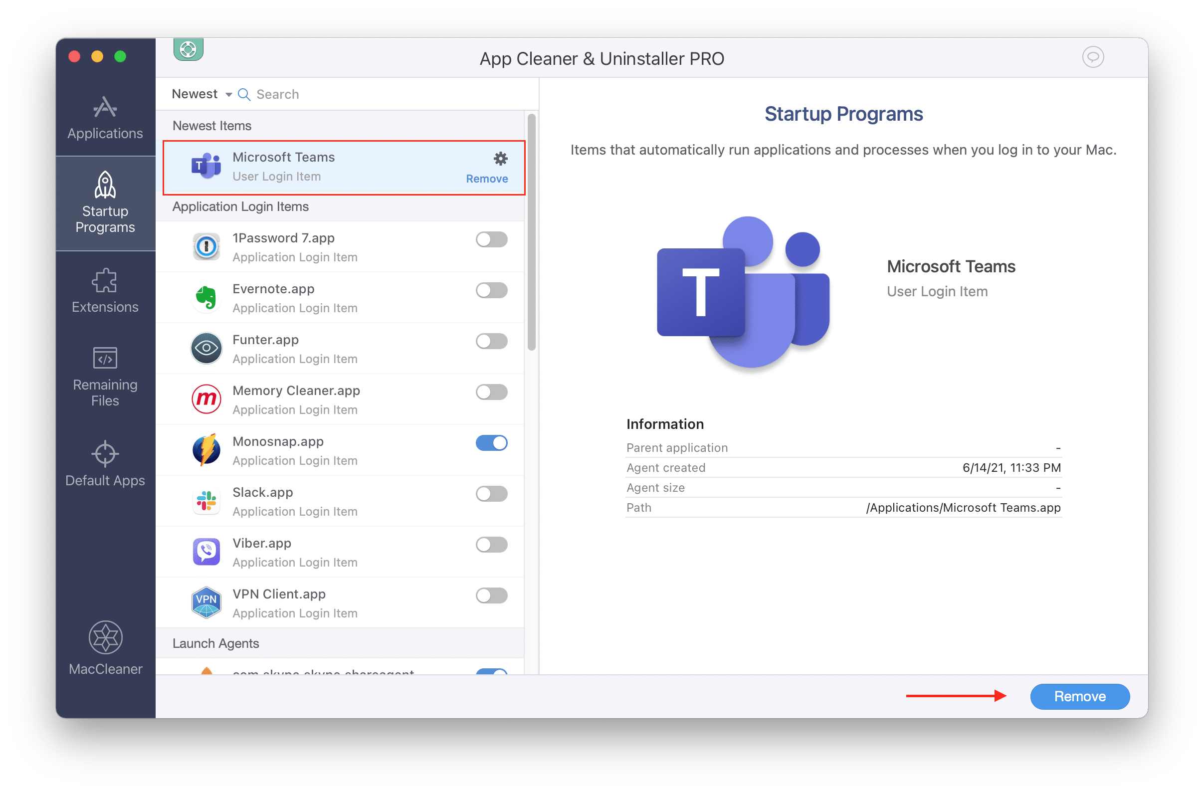 Click on Remove to stop Microsoft Teams from starting automatically