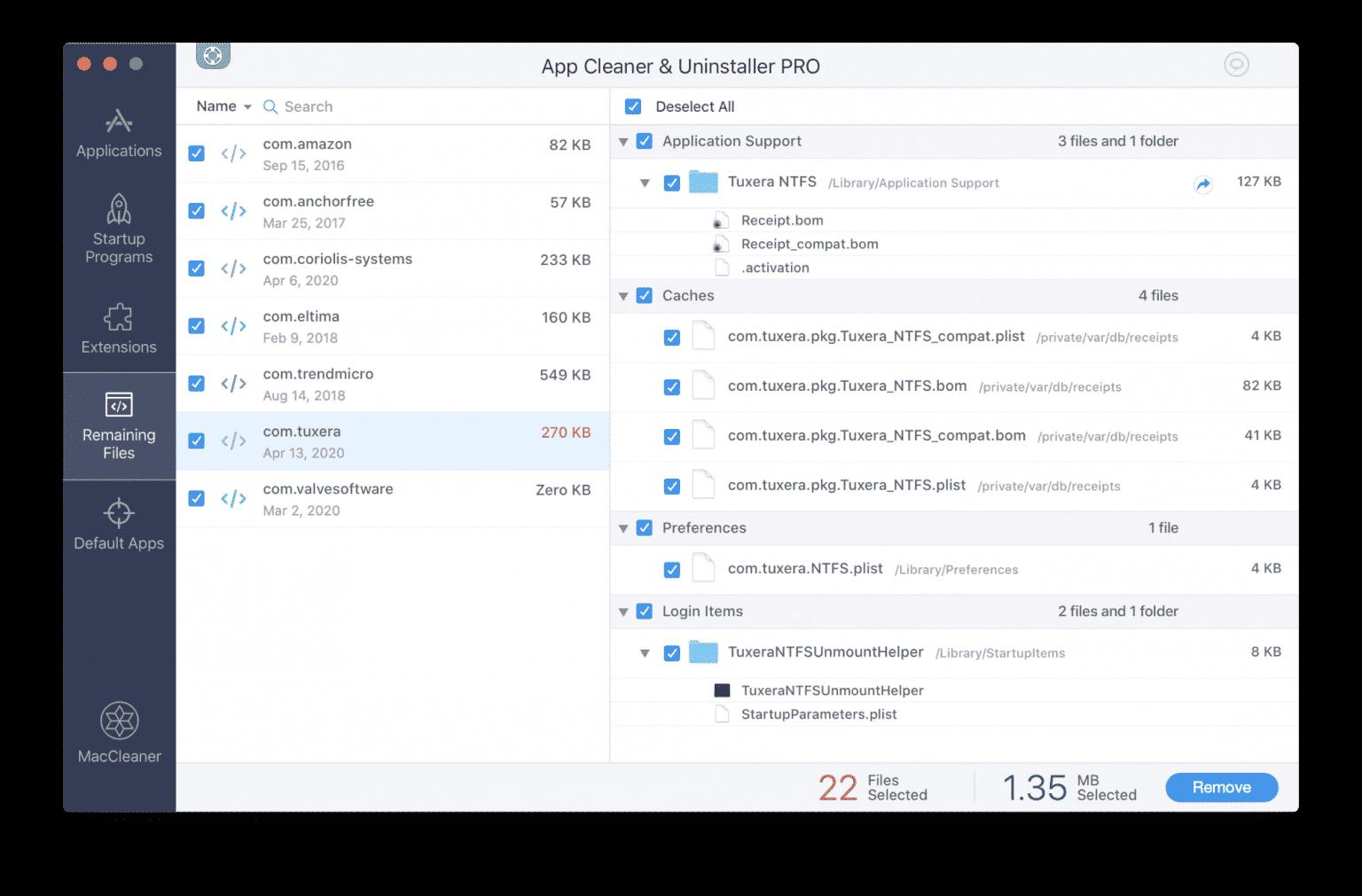 App Cleaner & Uninstaller showing remaining files