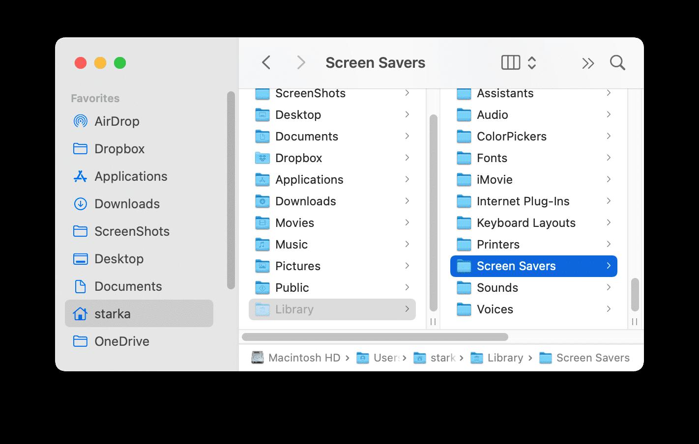 Finder window showing the Screen Savers folder