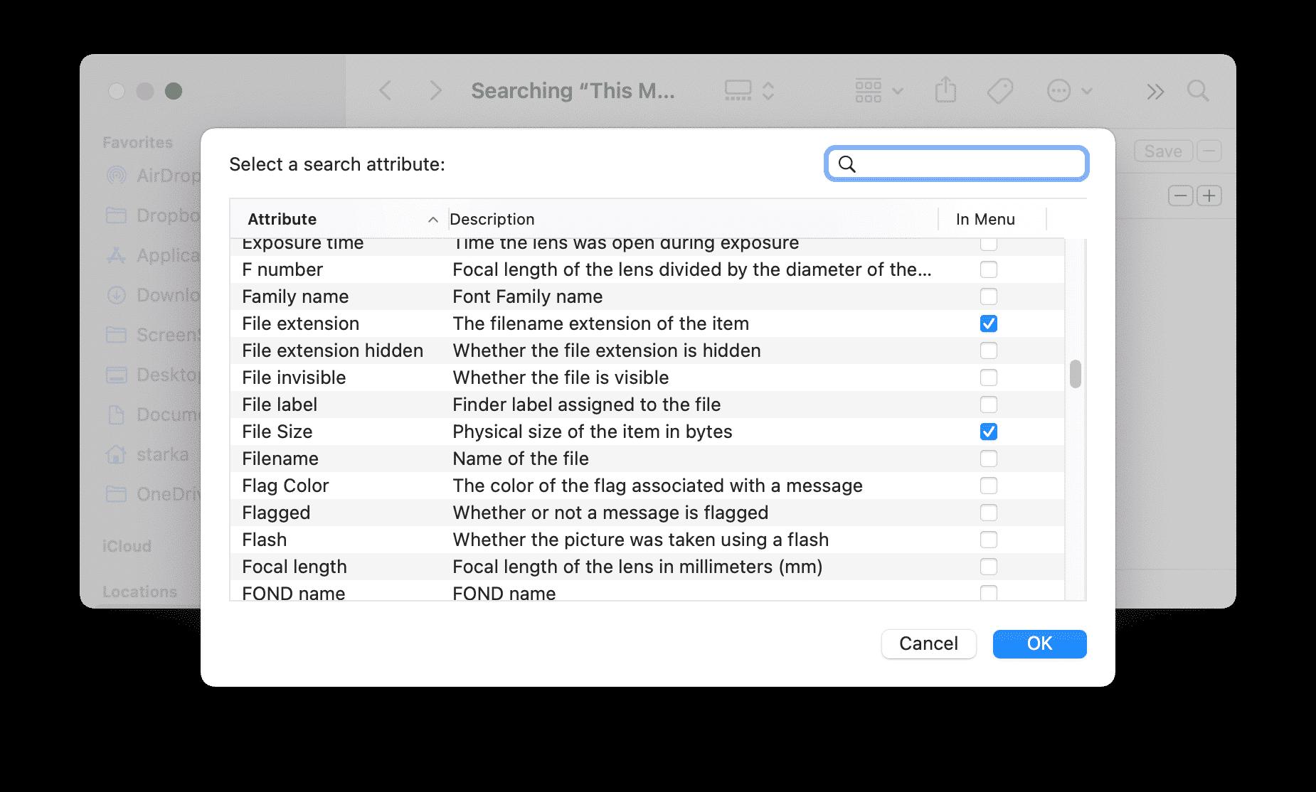 Search attribute window for Smart folder