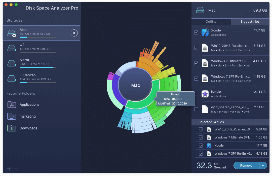 Disk Space Analyzer showing Mac storage