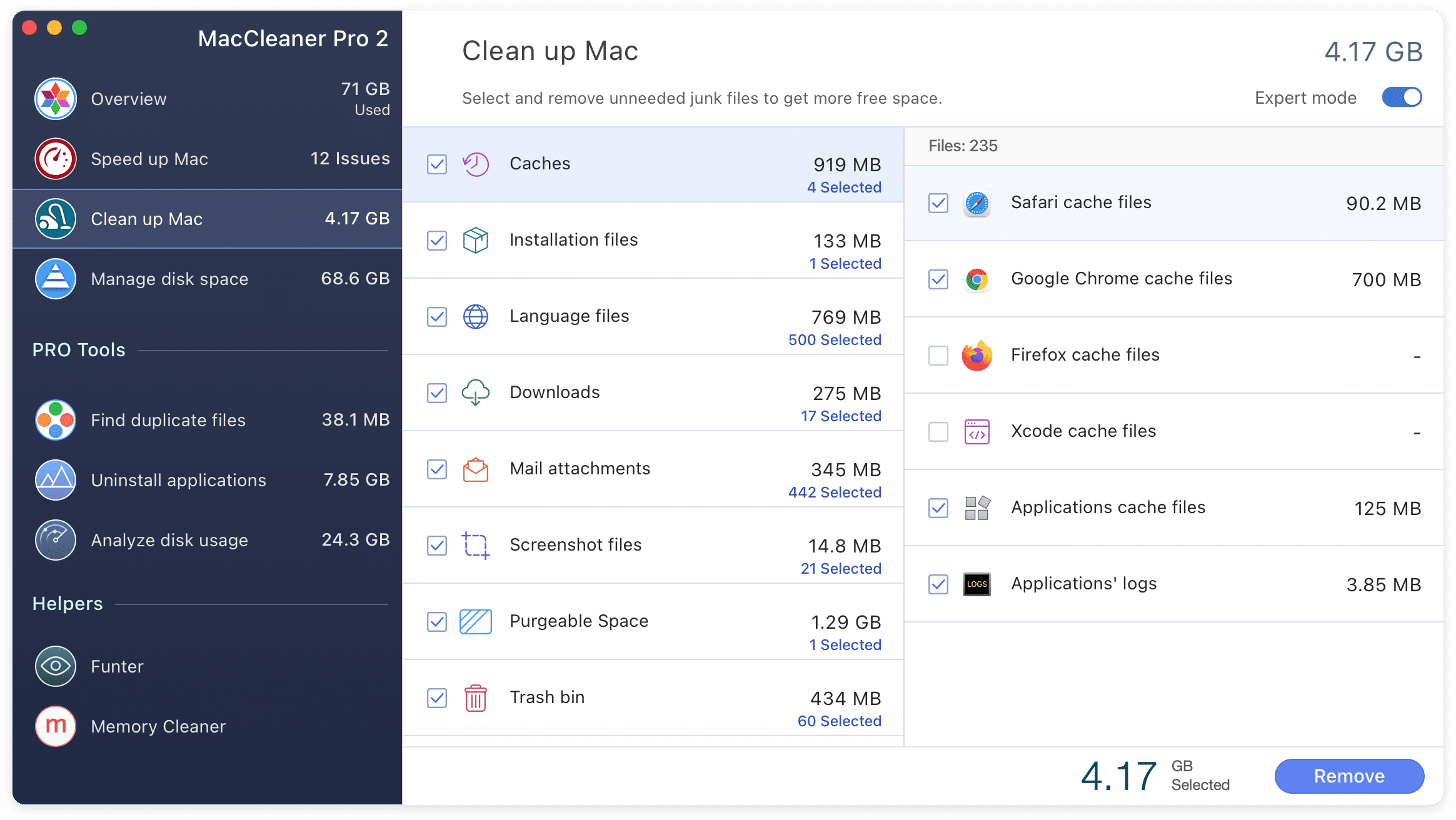 MacCleaner Pro showing junk files