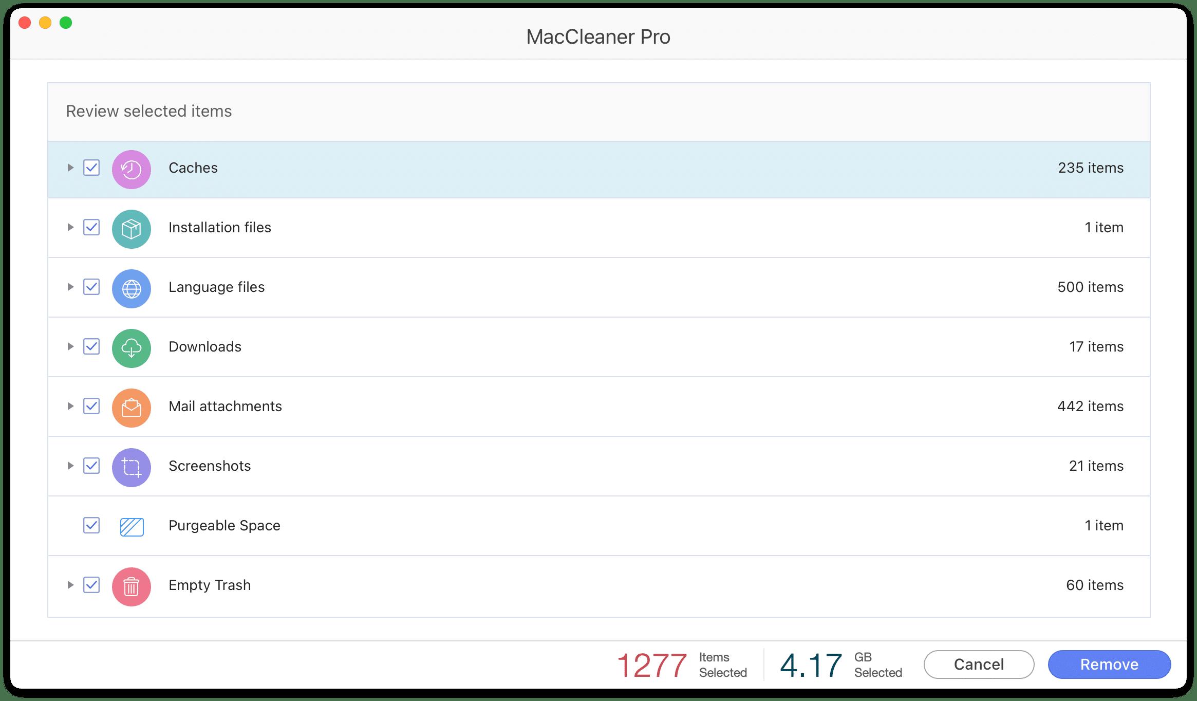 MacCleaner Pro confirmation window
