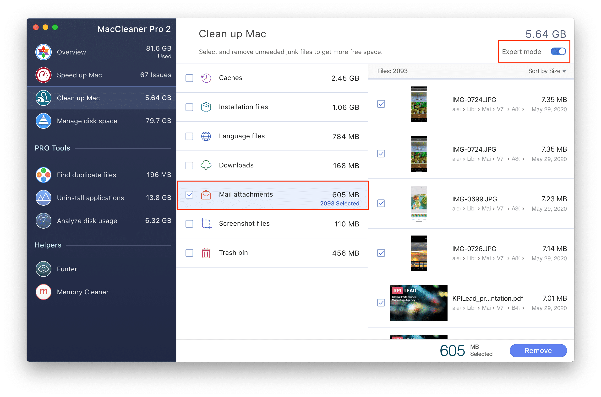 MacCleaner Pro window with Expert mode enabled and Mail attachments tab ticked